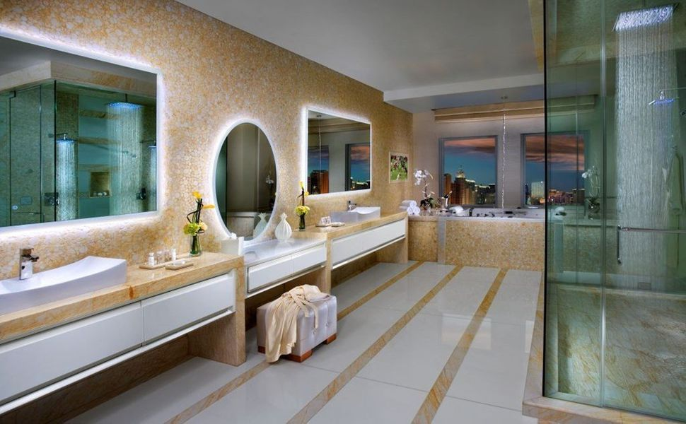 Everything is high-tech in the Villas bathroom at the Tropicana Las Vegas, with a computer panel control system for the whirl