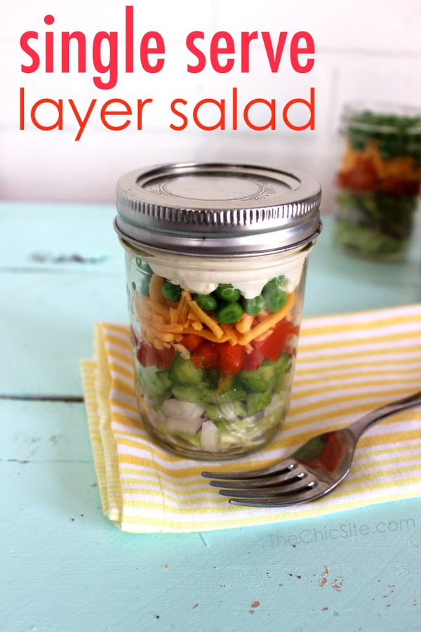 """<strong>Get the <a href=""""http://thechicsite.com/2014/04/11/layer-salad-in-a-mason-jar/"""" target=""""_blank"""">Single Serve Layer Sa"""