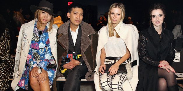 NEW YORK, NY - FEBRUARY 12:  Bryanboy, Elizabeth Minett and Vanessa Marano attend the Lie Sang Bong Fall-Winter 2014 Collecti
