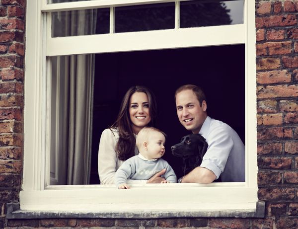 When he posed for a family portrait wearing a personalized cashmere sweater from grandfather Prince Charles, proving baby blu