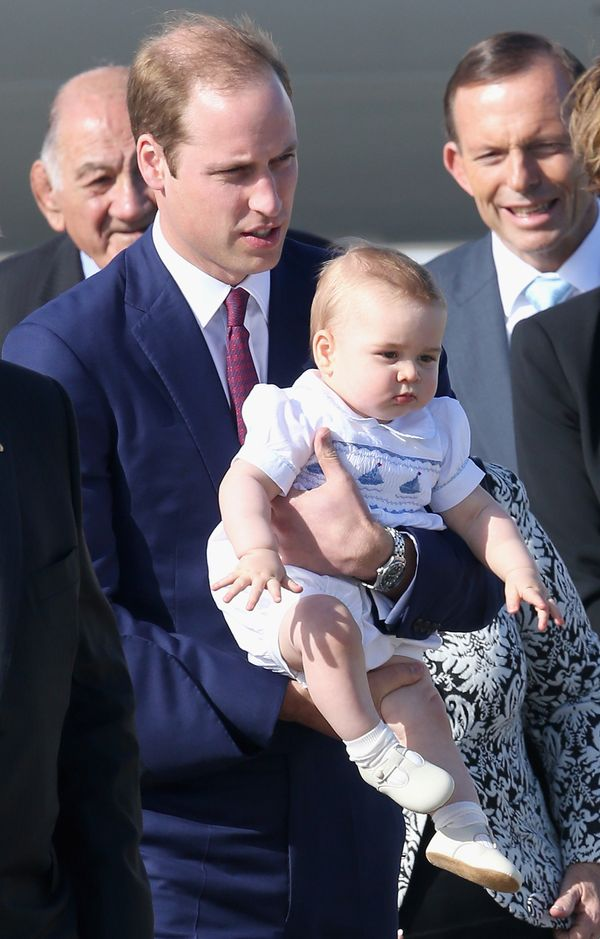 When he landed at the Sydney Airport on a Australian Airforce 737 aircraft (no big deal for this royal baby) dressed to the n