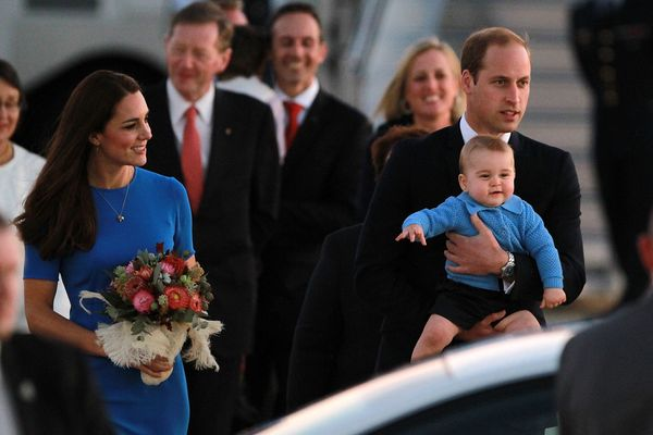 When he coordinated with mum Kate in this powder blue cardigan as they greeted onlookers in Canberra, Australia.