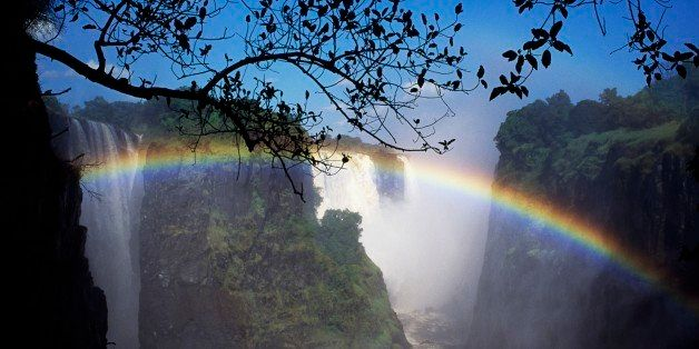 UNSPECIFIED - MARCH 14: Rainbow over Victoria Falls (UNESCO World Heritage List, 1989), Zambia-Zimbabwe. (Photo by DeAgostini/Getty Images)