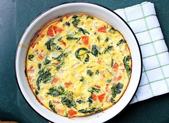 "<strong>Get the <a href=""http://www.itbakesmehappy.com/2012/09/spinach-tomato-frittata.html"">Spinach and Tomato Frittata reci"