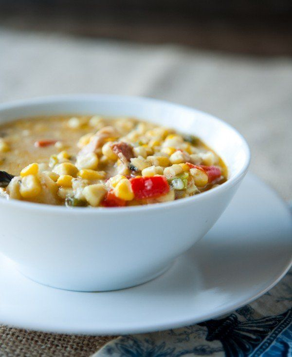 "<strong>Get the <a href=""http://eclecticrecipes.com/corn-chowder-with-bacon"" target=""_blank"">Corn Chowder with Bacon recipe</"