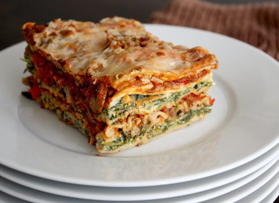 "<strong>Get the <a href=""http://www.nooschi.com/2012/04/roasted-vegetable-and-spinach-lasagna.html"">Roasted Vegetable and Spi"