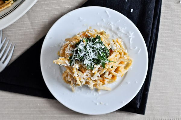 "<strong>Get the <a href=""http://www.howsweeteats.com/2012/03/sweet-potato-cream-pasta-with-crispy-kale/"">Sweet Potato Cream P"