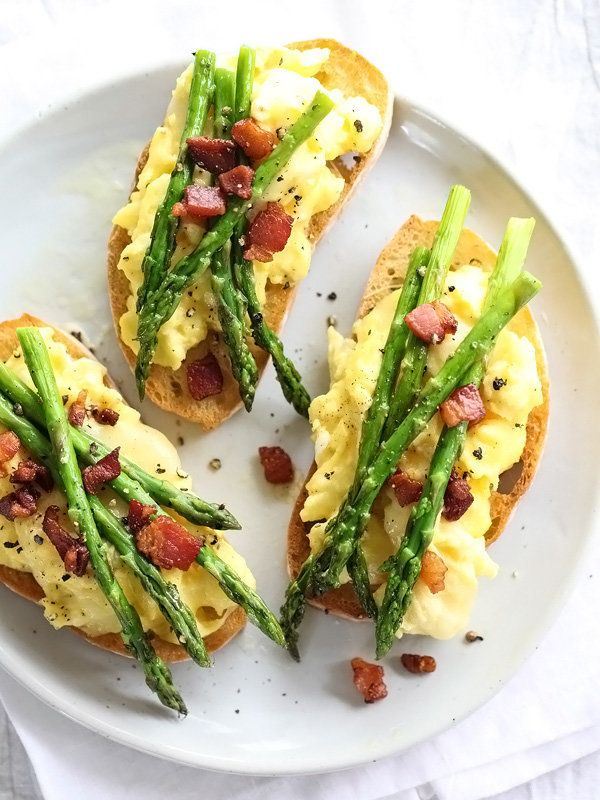 "<strong>Get the <a href=""http://www.foodiecrush.com/2014/04/scrambled-egg-and-roasted-asparagus-toasts/"" target=""_blank"">Scra"