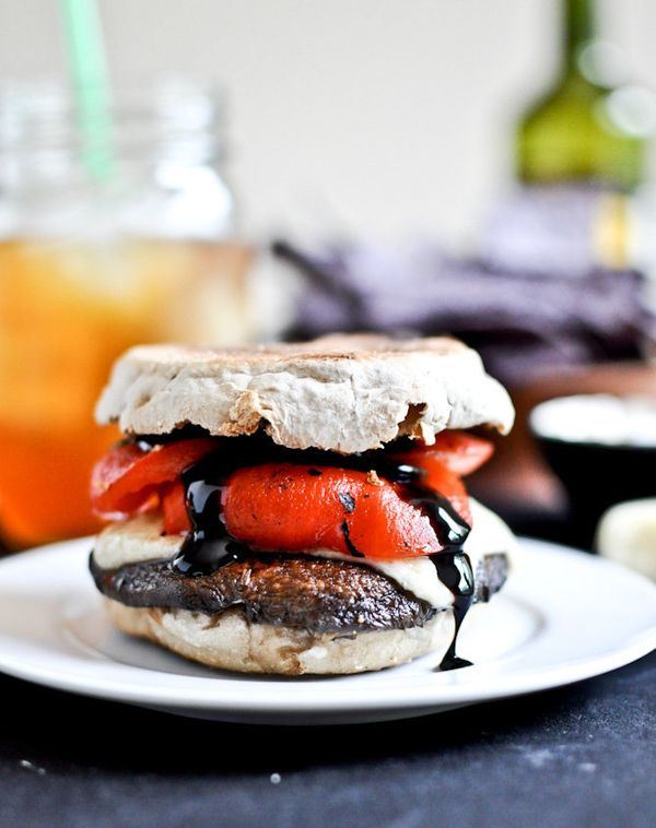 "<strong>Get the A<a href=""http://www.howsweeteats.com/2012/06/asiago-portobello-burgers-with-roasted-red-peppers-balsamic-gla"