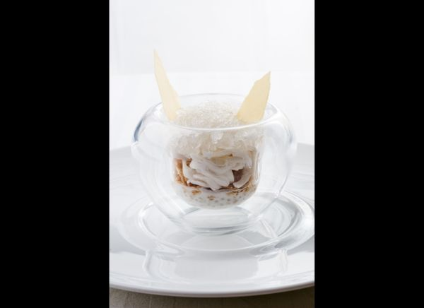 """Tapioca cooked in coconut milk, accompanied by coconut shavings and a coconut water sorbet."""
