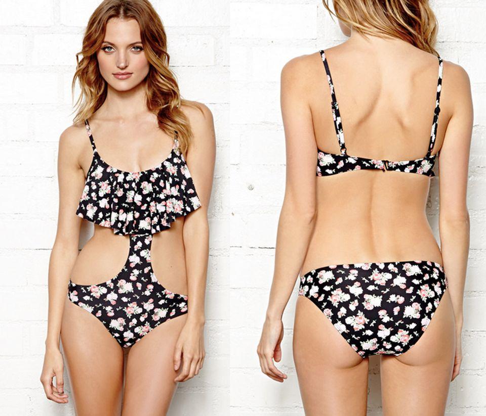 09b6b53c0c Forever 21 Sweet Rose Monokini, $24. Delta Burke Splice City Plus Size One  Shoulder Swimsuit ...