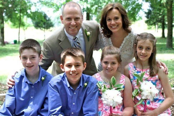 """""""Our new party of six is made of me and my husband, Joe, and our kids: Will, 14; Warren, 13; Hattie, 11; Crawford, 10.  When"""