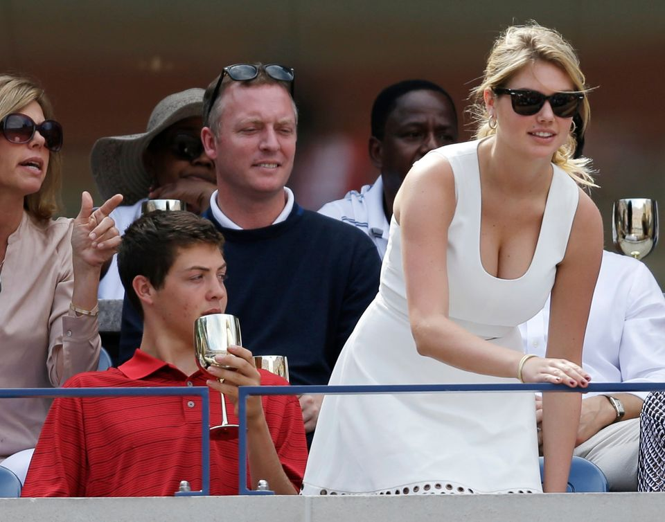 Supermodel Kate Upton takes her seat during the semifinals of the 2013 U.S. Open tennis tournament on Saturday, Sept. 7, 2013
