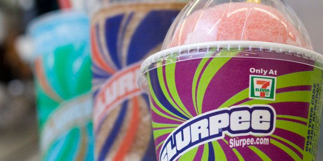"""This Nov. 10, 2010 photo shows Slurpees at a 7-11 in Concord, N.H.  No word yet on whether the nation's most powerful elected officials will actually be sipping Goji Berry Cherry Slurpees when discussing tax cuts on Nov. 18. But the Slurpee sellers at 7-11 are giddily taking advantage of the golden marketing opportunity with a """"Slurpee Unity Tour"""" now zigzagging across the country to Washington.     (AP Photo/Larry Crow)"""