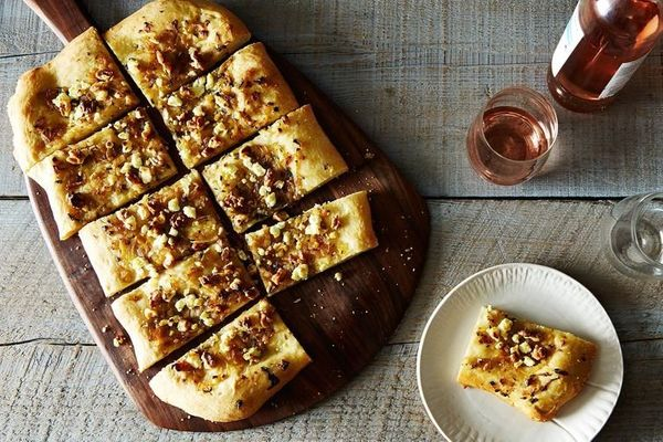 """<strong>Get the <a href=""""http://food52.com/recipes/15521-glazed-shallot-walnut-sage-and-goat-cheese-pizza"""" target=""""_blank"""">Gl"""