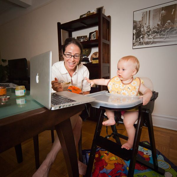 Avina Christie, a nine-month old baby, has dinner with her mother, and through a Skype video call shares the time with her gr