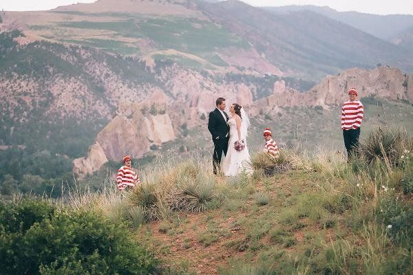 """""""Kathleen and Jerred with 'Waldo' at the Mesa overlook on their wedding day."""" -- Sean Cayton"""