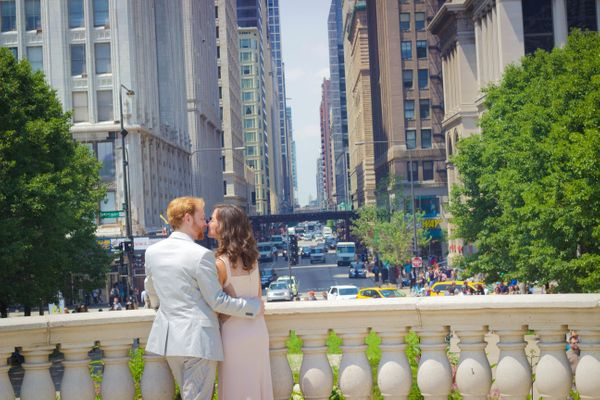 """""""Photo of the bride and groom, downtown chicago."""" -- Maurice Walker Photography"""