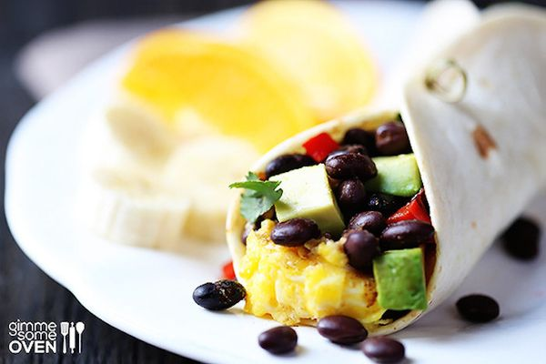 """<strong>Get the <a href=""""http://www.gimmesomeoven.com/black-bean-and-avocado-breakfast-burritos/"""" target=""""_blank"""">Black Bean"""