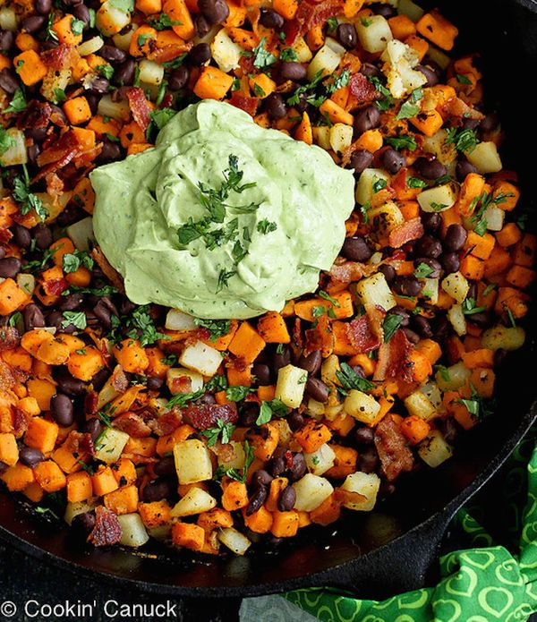"<strong>Get the <a href=""http://www.cookincanuck.com/2013/09/sweet-potato-hash-recipe-with-creamy-california-avocado-sauce/"""