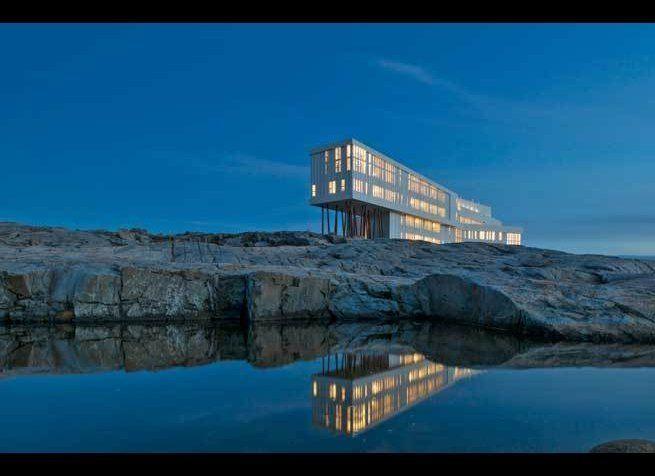 <em>Photo Credit: Courtesy of Fogo Island Inn</em><strong>Where</strong>: Fogo Island, Newfoundland  This hotel looks like
