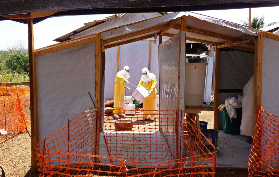 Workers from Doctors Without Borders prepare isolation and treatment areas for their Ebola virus operations in Gueckedou, Gui