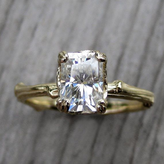 Moissanite and recycled 14k gold, $1,575.