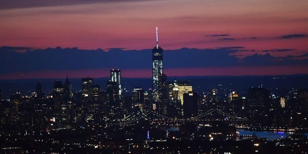 Manhattan skyline is pictured from a helicopter ferrying media traveling with US President Barack Obama in New York on July 17, 2014. AFP PHOTO/Jewel Samad        (Photo credit should read JEWEL SAMAD/AFP/Getty Images)