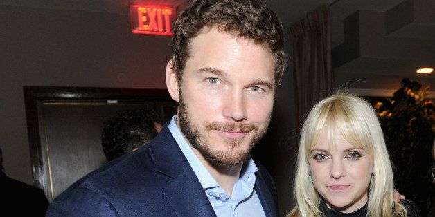 WEST HOLLYWOOD, CA - MARCH 01: (L-R) Actors Chris Pratt, Anna Faris and Doug Wald attend GREY GOOSE Pre-Oscar Party at Sunset Tower on March 1, 2014 in West Hollywood, California.  (Photo by Jamie McCarthy/Getty Images for GREY GOOSE)