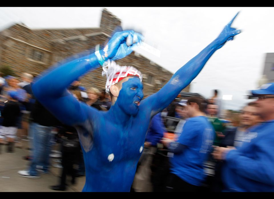 DURHAM, NC - MARCH 03:  A fan of the Duke Blue Devils waits in line to get into Cameron Indoor Stadium for their game against
