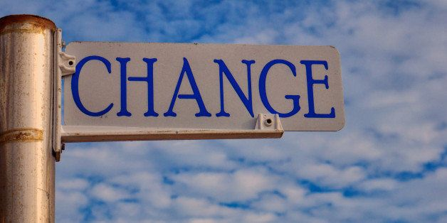 "sign with the word ""change""..."
