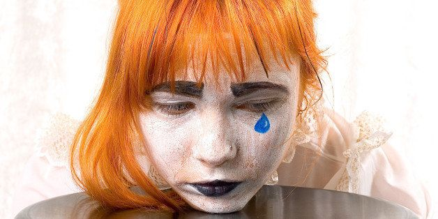 clown makeup girl with red hair ...