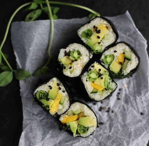 Take cauliflower rice to new heights. Stuff it up in some dried nori with your favorite sushi fillings for a lightened-up rol