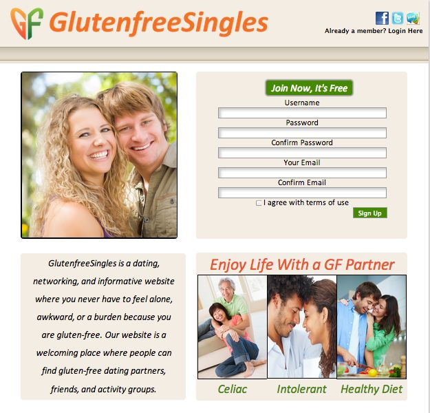 """Tired of meeting people who don't share the gluten-free lifestyle you lead? Then <a href=""""http://www.glutenfreesingles.com/"""""""