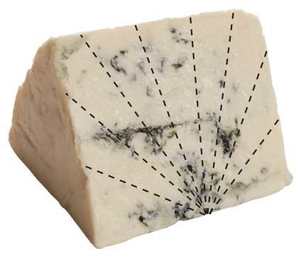 Slice it into points from the bottom center of the thin edge. <em><br><br>Cheeses: Blue cheeses, fresh goat cheeses</em>