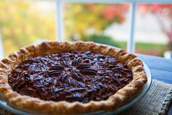 """<strong>Get the <a href=""""http://www.simplyrecipes.com/recipes/pecan_pie/"""" target=""""_blank"""">Pecan Pie</a> recipe by Simply Reci"""