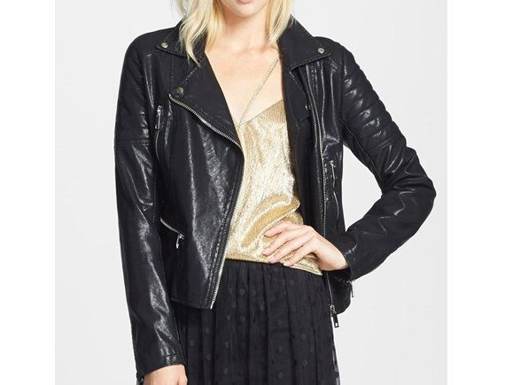 "Take a break from your normal trench and dress up your look with a faux leather jacket.  <br>  $148, <a href=""http://bit.ly/1"