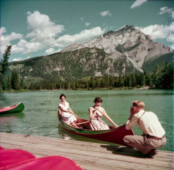 "Canoeing on Bow River at Banff, Alberta.  <a href=""http://collectionscanada.gc.ca/pam_archives/index.php?fuseaction=genitem.d"