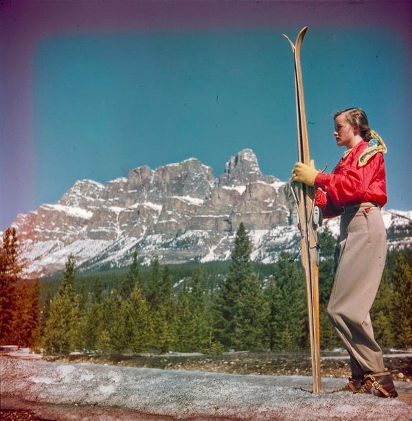 "Skier Shirley Cain, Banff National Park, Alberta.  <a href=""http://collectionscanada.gc.ca/pam_archives/index.php?fuseaction="