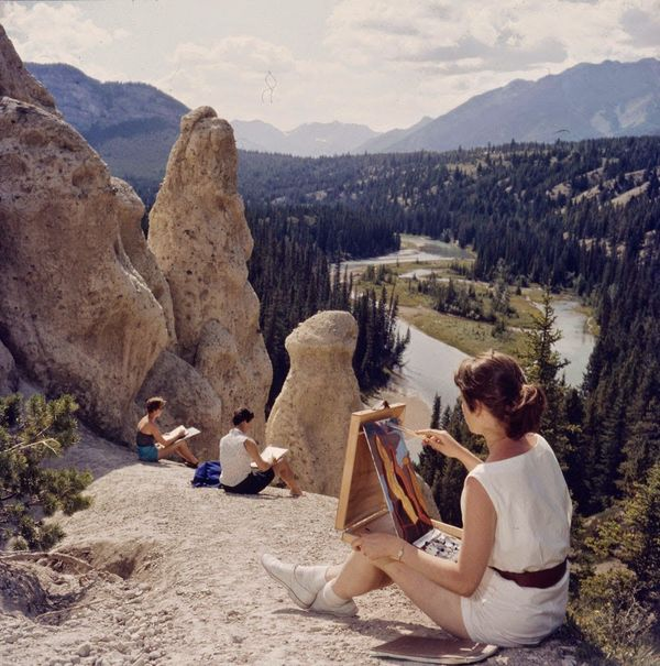 "Students painting some of the remarkable scenery in the Park.  <a href=""http://collectionscanada.gc.ca/pam_archives/index.php"