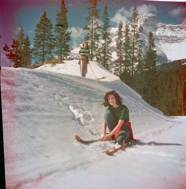 "Two women skiing, Moraine Lake Road.  <a href=""http://collectionscanada.gc.ca/pam_archives/index.php?fuseaction=genitem.displ"
