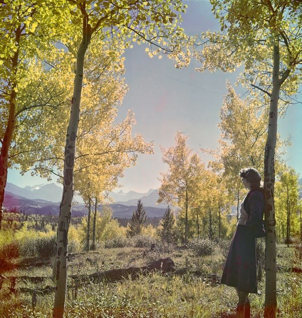 "Woman admiring autumn scene, Banff National Park.  <a href=""http://collectionscanada.gc.ca/pam_archives/index.php?fuseaction="