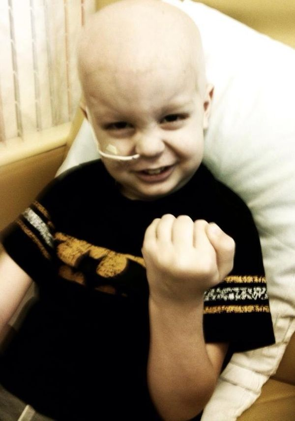 This is my son Gavin, diagnosed at age 3 with leukemia. <em><strong>He is now 5 and loves to tell people he kicked cancers bu