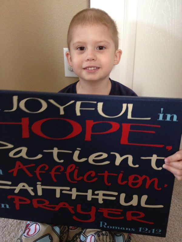 My 3-year-old son, Luke, was diagnosed with ALL in March 2013.  <em><strong>He had a very rough time with chemo in the beginn
