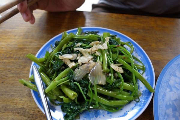 Garlicky sauteed morning glory, a common green in Vietnamese cooking.