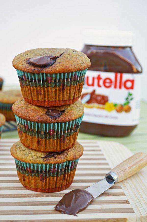 "<strong>Get the <a href=""http://breezybakes.com/nutella-stuffed-banana-muffins/"" target=""_blank"">Nutella-Stuffed Banana Muffi"