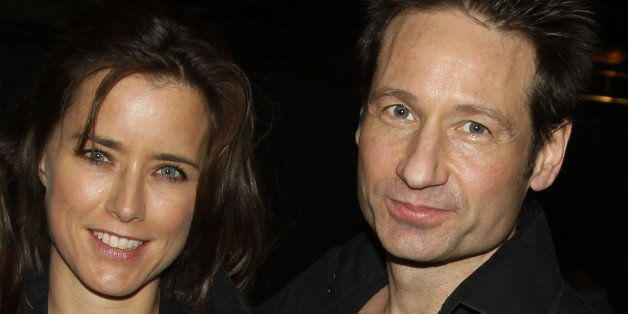 NEW YORK - NOVEMBER 22:   Tea Leoni and husband David Duchovny pose at The Opening Night Party for 'The Break of Noon' at 49 Grove on November 22, 2010 in New York City.  (Photo by Bruce Glikas/FilmMagic)