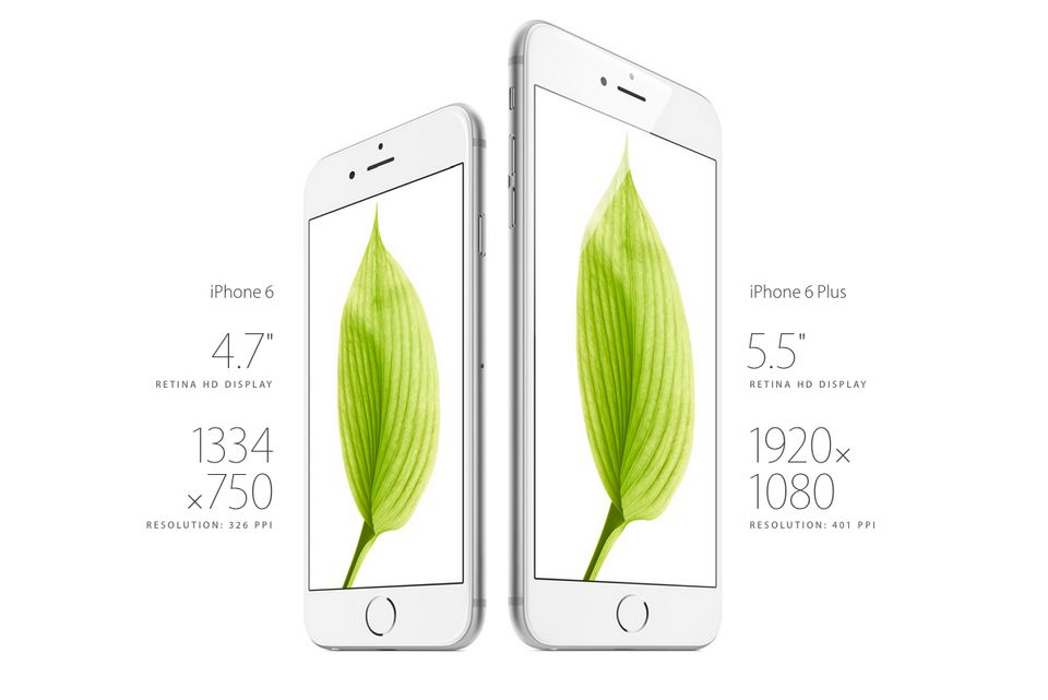 The iPhone 6 display isn't bigger than the iPhone 5, at 4.7 or 5.5 inches. It's also better. Apple took pains to explain whic