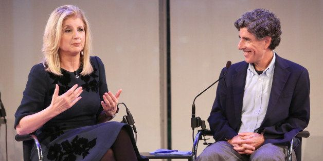 NEW YORK, NY - OCTOBER 01:  Arianna Huffington (L) and Richard Davidson speak onstage at Thrive with Arianna Huffington panel during AWXI on October 1, 2014 in New York City.  (Photo by Monica Schipper/Getty Images for AWXI)