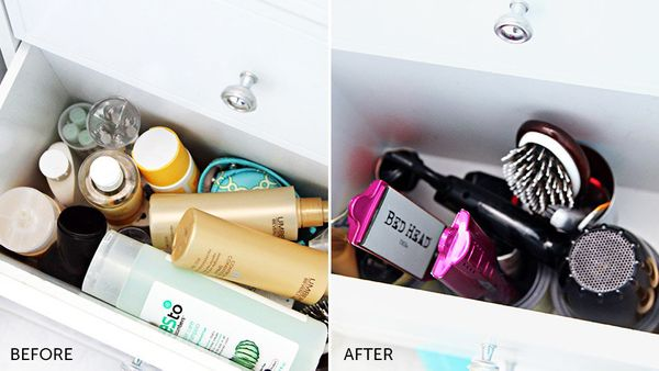 Organize your messy vanity. The easiest way to make your bathroom feel more inviting is to clear out the clutter with this bu